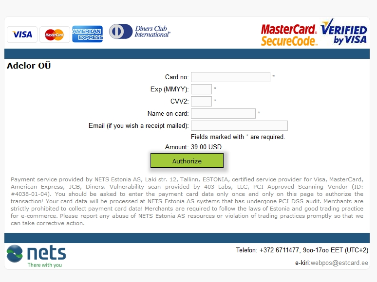 Derma Roller Shop Credit Card Payment Interface